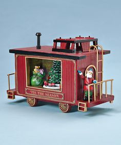 Christmas Train Caboose Music Box with Elf Conductor