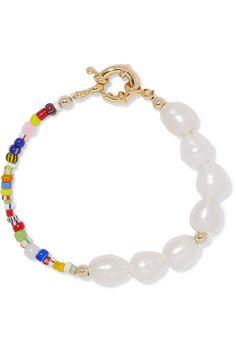 Eliou Thao Gold-Plated Pearl and Bead Bracelet Beaded Bracelets Tutorial, Handmade Bracelets, Wrap Bracelets, Healing Bracelets, Ankle Bracelets, Beaded Jewelry, Beaded Necklace, Silver Jewelry, Jewlery