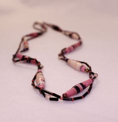 "22"" Pink & Black, Double Strand Paper Bead Necklace with Crystal and Glass Accents in Various Shades of Pink w/Black Tube Connector Beads by PaperBeadChicFun on Etsy"