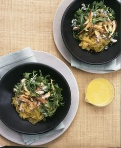 Spaghetti Squash with Honey Ginger Chicken and Blue Cheese