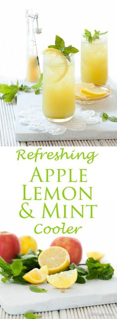 This Fruit Cooler is a simple blend of apple juice, lemon juice and fresh mint. It is fresh, fruity, tangy and amazingly thirst quenching. #vegetablejuicerecipes