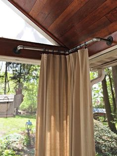 Soften your porch with burlap curtains! Love this idea! Simple install!