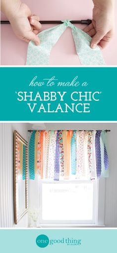 """Learn how to use """"jelly roll"""" fabric strips to make a light and airy window valance in under 10 minutes. Shabby chic was never easier!"""
