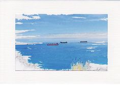 Ships at Sea Image 1 - Greetings Card or Notelet - Scenic Photo Print