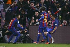 Neymar and Lionel Messi join in the celebrations with fellow strike partner and team-mate Luis Suarez