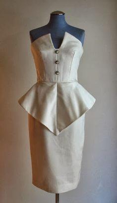 1980s strapless peplum dress by Victor Costa