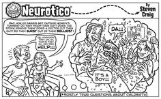Neurotico # 86 Real Questions about Childbirth Cartoon Humor about aliens