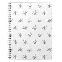 Cannabis Leaf on White Spiral Notebook