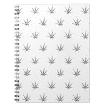 Cannabis Leaf on White Spiral Notebook
