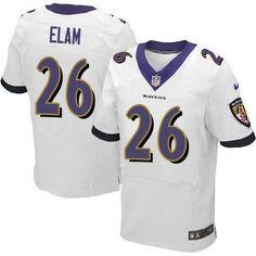 2013 NEW Baltimore Ravens #26 Matt Elam White NFL Jersey(New Elite)(collar Purple)  Baltimore Ravens Jersey