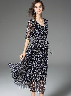 Half Sleeve Mesh Patch Maxi Dress