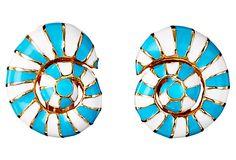 Striped Shell Earrings, Blue/White on OneKingsLane.com