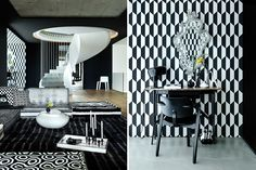 In Munich, the designers of raumstation Architekten imagined an M.C. Escher–meets–Harlequin black-and-white scheme for a home in a former bunker built in 1943 to shelter up to 700 people. Photos by Christine Bauer/Munich