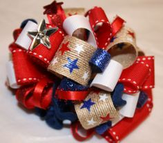 4th of July Loopy Bowtique Bow by HodgePodgeBowtique on Etsy, $10.00