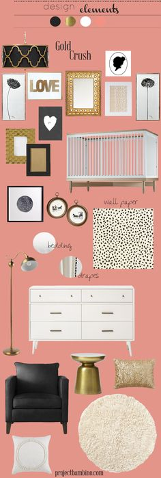 coral gold and black nursery