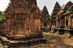 Among the intriguing ruins of Angkor - the finely carved ruins of Banteay Srei or Srey, a 10th century temple dedicated to Lord Shiva in the Angkor Archeological Park.
