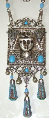 Vintage art deco Egyptian revival pendant drop necklace eBay