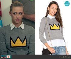 Betty's crown sweater on Riverdale. Outfit Details: https://wornontv.net/69237/ #Riverdale