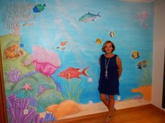 Mural fondo del mar caribe