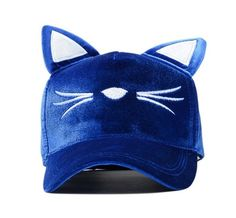 A blue velvet cat cap that draws you closer to only the people you want to attract. | 21 Things That May Actually Help You Meet New People