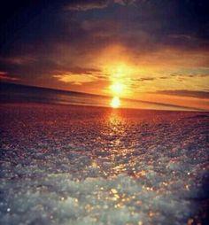 Sunset at Okaloosa Island, Florida (1.29.14) icy sand