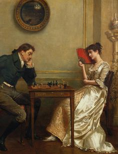 A Game Of Chess by George Goodwin Kilburne (English 1839 - 1924)....a popular subject for these genre works....a metaphor for love, I guess....