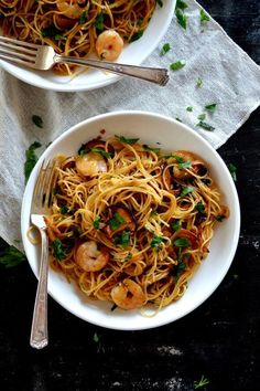 Soy sauce and butter are an incredible combo. Add shrimp and earthy shiitake mushrooms and the soy sauce butter flavors really pop in this easy-to-make pasta.