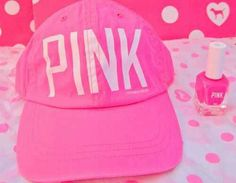 VS PINK cap & matching PINK nail polish