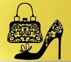 Salon de beauté magasin vinyle stickers muraux sac dame chaussures mode murale Art Wall Sticker magasin de chaussures sac vitrine décoration