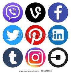 Kiev, Ukraine - November 26, 2016: Collection of popular social media circle new logos printed on paper: Facebook, Vine, Viber, Instagram, Linkedin, Twitter, Pinterest, Tumblr and Uber
