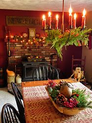 Love the centerpiece and the pine boughs resting on the light. I could do that to my light that is above my dining room table!