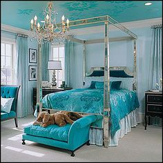 [ Turquoise Room Ideas For Inspiration Contemporary Bedroom ] - Best Free Home Design Idea & Inspiration Dream Rooms, Dream Bedroom, Girls Bedroom, Bedroom Decor, Bedroom Interiors, Modern Bedroom, Theme Bedrooms, Bedroom Colors, Wall Decor