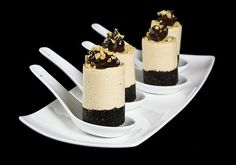 Mini Chocolate Peanut Butter Mousse Cakes Love the black & white contrast
