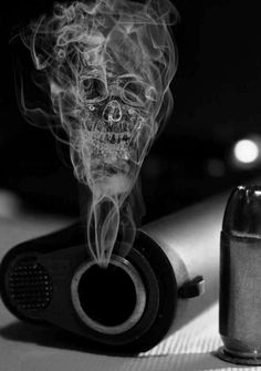 Gun Smoke Skull-George Men are given the role of being more brutal than women and are willing t take higher risks when it comes to revenge. Smoke Art, Up In Smoke, Creation Art, Guns And Ammo, Skull And Bones, Skull Art, Firearms, Hand Guns, Just In Case