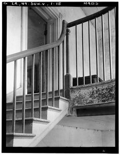 15.  Historic American Buildings Survey Richard Koch, Photographer, August, 1936 DETAIL STAIR AND RAILING AT SECOND FLOOR LANDING - Chretien Point Plantation, Sunset, St. Landry Parish, LA
