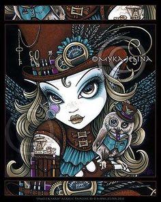Steampunk Owl Fairy Art Aviatrix Jewels Myka Jelina First Ed CANVAS Embellished