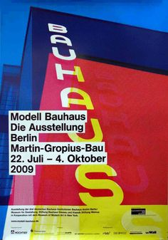 Poster for an exhibition on the Bauhaus, first held in Berlin. It was then held  at the Museum of Modern Art in New York as Bauhaus:  Workshops for Modernity. The design is an abstraction of the big sign on the Bauhaus building in Dessau.  #poster #graphic_design #bauhaus