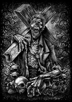 'Winya Poster by Winya Dark Artwork, Skull Artwork, Arte Horror, Horror Art, Pop Art Posters, Poster Prints, Reaper Drawing, Aztecas Art, Lips Painting