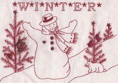 Vintage Redwork Patterns   709N Redwork Winter