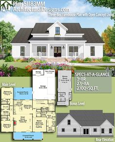 Architectural Designs Farmhouse Plan 51183MM gives you 3+ beds, 2.5+ baths and over 2,100 square feet of heated living space with an optional bonus level (400+ sq. ft.). Ready when you are. Where do YOU want to build? #51183mm #adhouseplans #architecturaldesigns #houseplan #architecture #newhome #newconstruction #newhouse #homedesign #dreamhome #dreamhouse #homeplan #architecture #architect #ranch #farmhouse #cottagefarmhouse