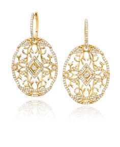 Ivanka Trump Lace Pattern Earrings with Diamonds in Yellow Gold