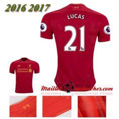 Les Nouveaux Maillot Liverpool FC LUCAS 21 Domicile Rouge 2016 2017: fr-moinscher