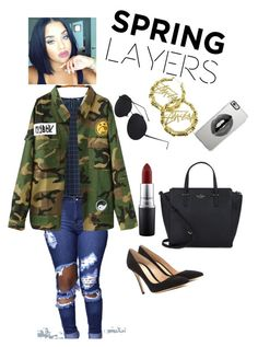 """""""Savage """" by qveennnnnn on Polyvore featuring Uniqlo, Chicnova Fashion, MAC Cosmetics, Kate Spade, Gianvito Rossi, Stussy and Lipsy"""