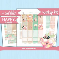 Weekly Planner Stickers, Classic Happy Planner Kit, Planner Stickers Printable, Mambi Planner Stickers, Spring Weekly Kit, cutfiles, HP-41 by BestPrintables4U on Etsy