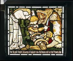 Panel by Rossetti, Dante Gabriel, ca. 1862 (made). Stained glass panel depicting the Legend of St George: How the good knight St.George of England slew the dragon and set the princess free. William Morris, Patron Saint Of England, Saint George And The Dragon, Good Knight, Green Knight, Dante Gabriel Rossetti, Tile Murals, Pre Raphaelite, Victoria And Albert Museum