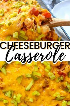 A hearty and family-friendly 40-minute cheeseburger casserole recipe made with ground beef, macaroni, cheddar cheese, onions, tomatoes, and dill pickles.