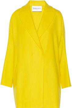 Vionnet, Oversized stretch-wool twill coat, bright yellow   fashion