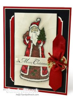 Making Holiday Buttons with Ribbonista @Sandy Allnock for a terrific #Christmas card with #Stampendous Forest Santa.