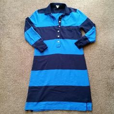 J.Crew blue striped rugby dress sz XS Very gently worn blue rugby striped dress from J.Crew! I ripped the tags off this dress and put it away in my closet and now (very sadly) is too small for me! 3/4 sleeves, 100% cotton, gold button detail. Super cute spring/summer dress! J. Crew Dresses