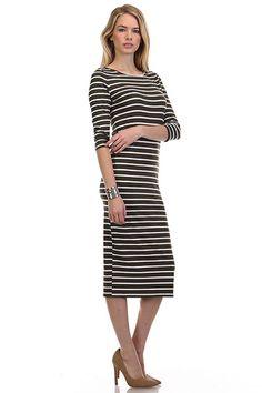 Bethany Striped Midi Dress